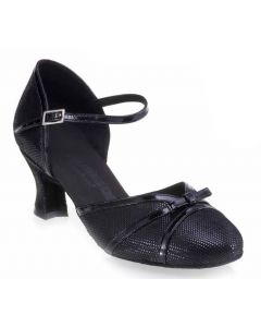 Black Leather and Black Patent - Heel 40
