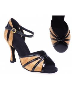 Gold Flower Leather & Black Patent